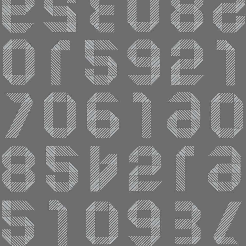 origami numbers dark grey